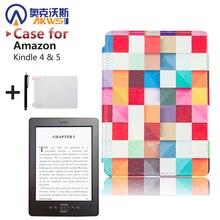 Impreso PU Cubierta de Cuero de alta calidad caso para kindle 4 kindle ereader 5 ebooks (No ajuste Touch)