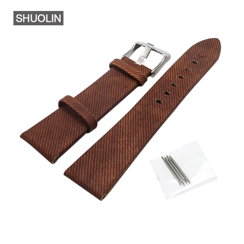 Fashon Women Watch strap watchband 20mm watch band 20MM 2018 new brown denim straps 20 watchbands for women Wristwatch SH010-BRO цена