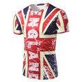 Summer Short sleeve Men's Clothing Tops Tees Fashion Slim tshirt Casual Tee shirt ENGLAND letter print British flag t shirt men