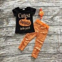 Fall Halloween Clothes Cutest Pumpkin Short Sleeve Orange Black Sequins Suit Children Boutique Long Pants With