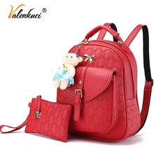 Valenkuci 2017 кожаный рюкзак женщин рюкзаки школьные сумки женские рюкзаки для женщин высокого качества сумки для подростков BD-195