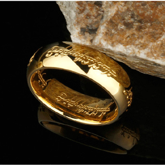 High Quality Gold Color Hobbit Gift Stainless Steel One Ring Of Power Jewelry Lord of Ring for Women Men Free Shipping (GR147) 1