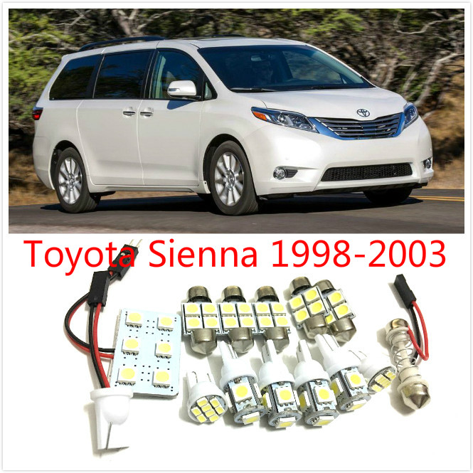 12PCS White LED interior package kit For Sienna 1998-2003 Map Dome Trunk Courtesy License Plate Tag Lights high quality