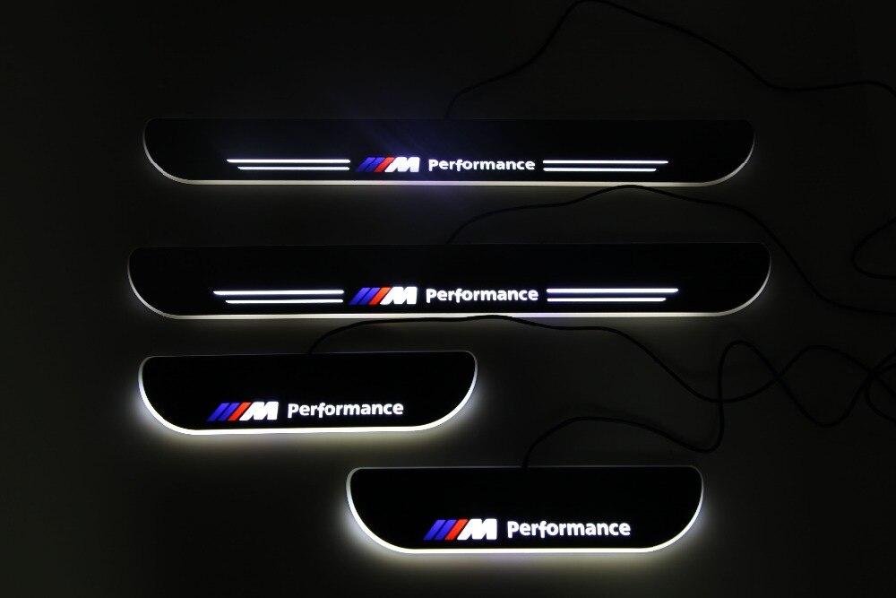 RQXR a mené des éraflures de porte mobiles pour BMW e39 plaque de seuil de porte dynamique doublure plate flux de recouvrement/encore lumière, 4 pièces