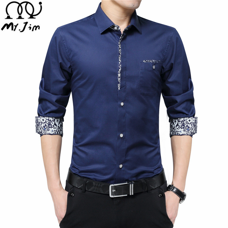 Mr jim 2017 men fashion shirt long sleeve mens casual for Mens fitted long sleeve dress shirts