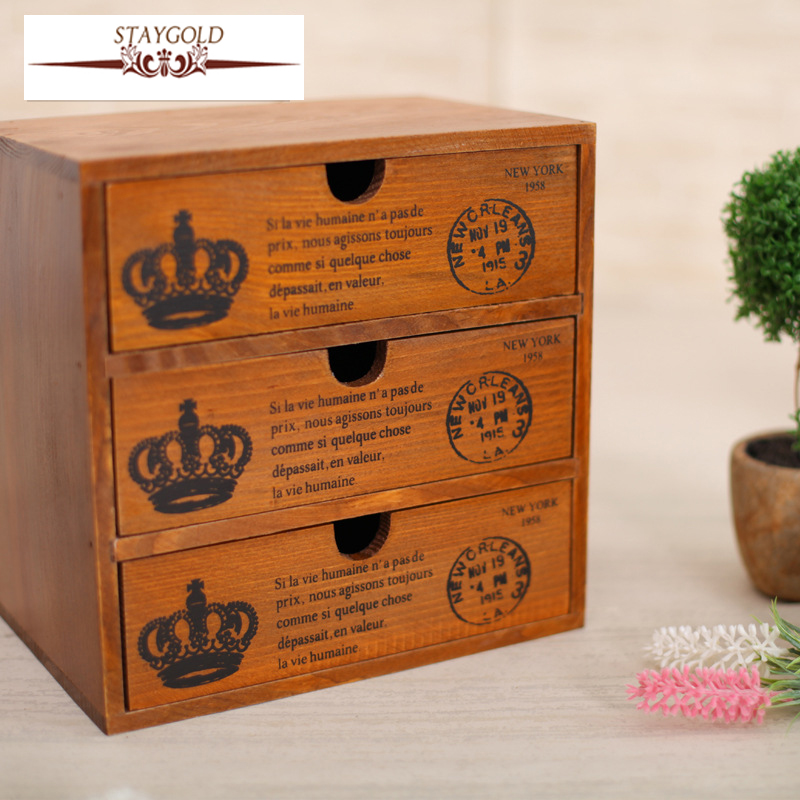 Staygold Zakka Multifunctional Mini Storage Cabinet Three Drawer Box Wood Craft Storage Box Small Parts Vintage Home Decor-in Home Office Storage from Home ... & Staygold Zakka Multifunctional Mini Storage Cabinet Three Drawer Box ...