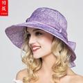 2016 Леди Новый Путешествия Вс Шляпы Мода Холст Случайный Досуг Большой Вс Шляпы Складные Моды Солнцезащитный Крем Пляж Шляпы Регулируемые B-3714