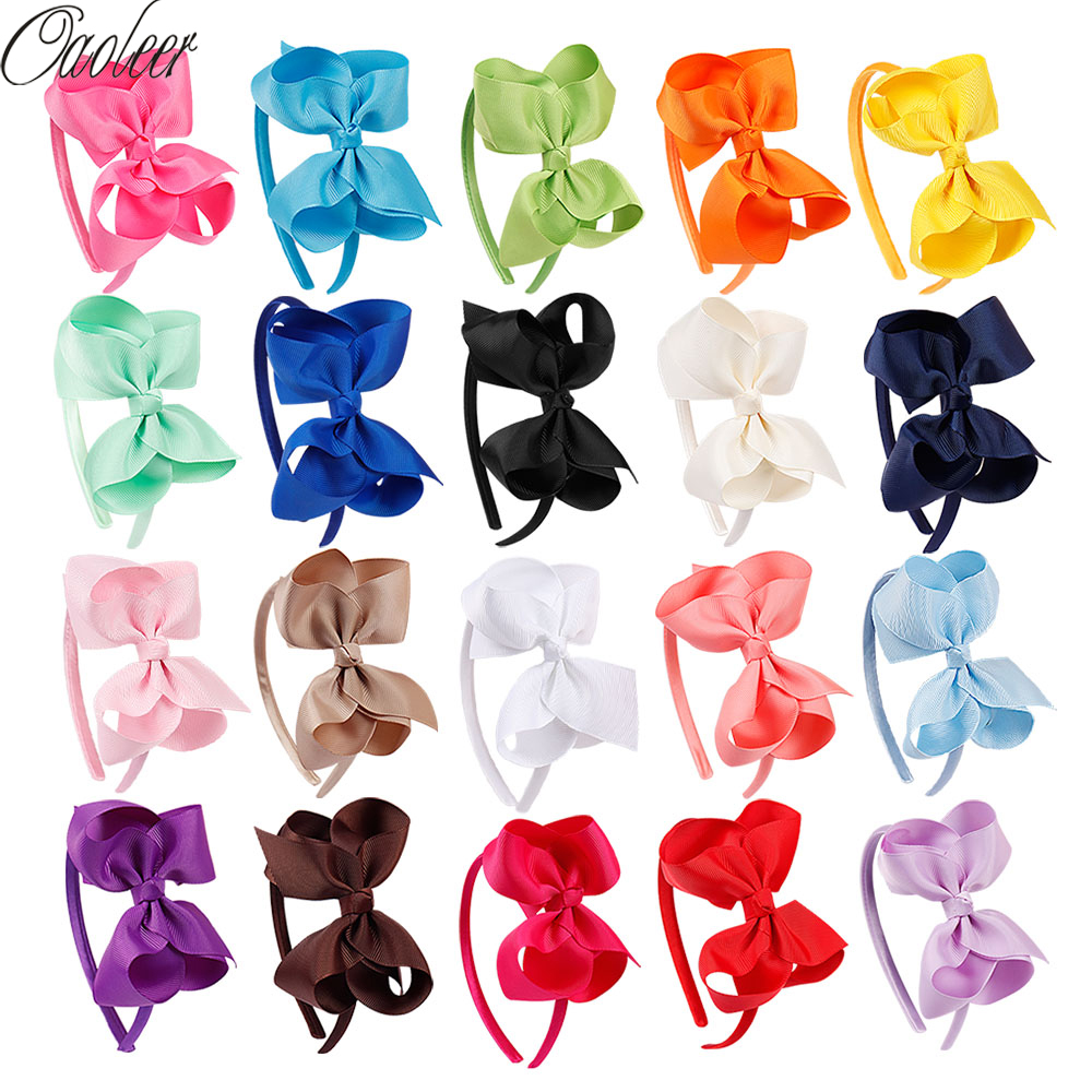 20 Pcs/Lot 4'' Solid Grosgrain Ribbon Hairbands Princess Hair Accessories Handmade Headband Girl Hairbands With Bows Hair Girl