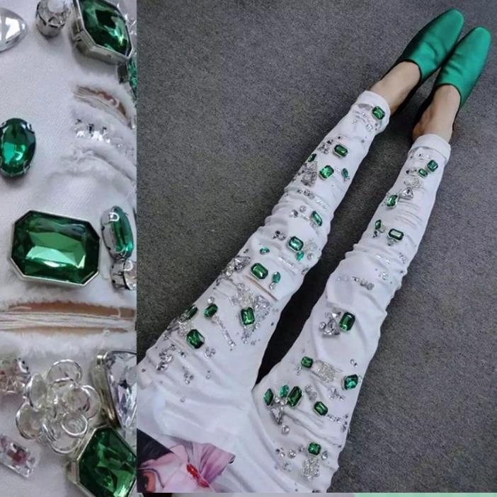 Grande taille 25-32 2018 mode femmes crayon diamant Jeans Slim élastique Skinny blanc trou coton Stretch dame Jeans