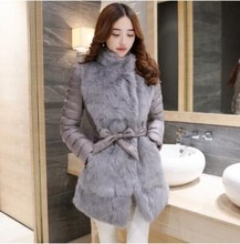 Winter Jacket Women Rabbit Fur Slim Warm Winter Coat Long Elegant Outwear Gray/Black Color Parkas Plus Size M L XL 2XL 3XL