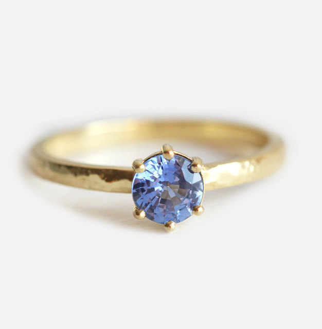 Rings For Women 18k Yellow Gold 053CT Blue Sapphire Engagement Ring