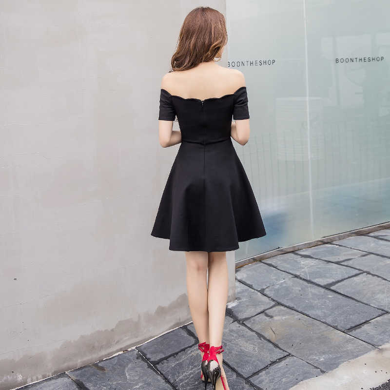 22fb7daa529 ... Sexy off shoulder elegant women party dress slash neck short sleeve high  waist slim pleated black