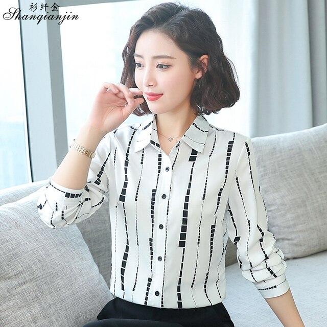 59d2a0cc6a30b New Korean OL Long Sleeve Shirts Slim Fit Striped Fashion Chiffon Shirt  Blouse for Women Office Ladies Work Wear 4XL