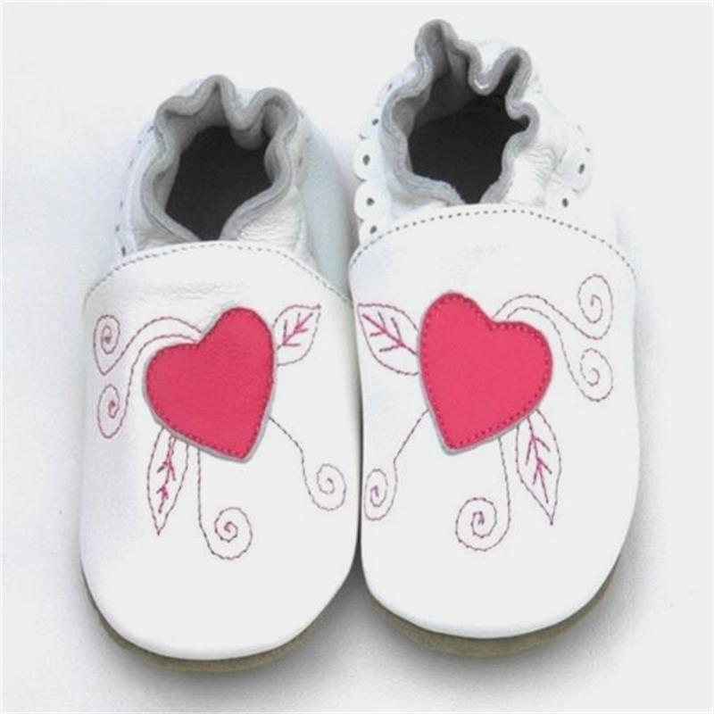 newborn baby girl shoes Guaranteed 100% soft soled Genuine Leather baby shoes /Deep pink Heart baby girl first walkers