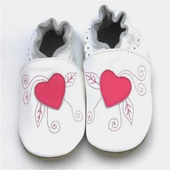 newborn baby girl shoes Guaranteed 100% soft soled Genuine Leather /Deep pink Heart  first walkers