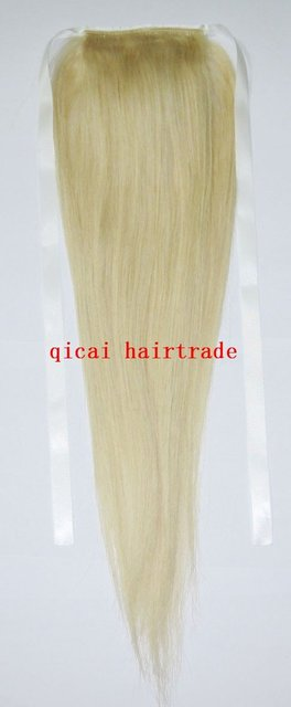 "hing quality!24"" HUMAN HAIR ponytail 80g extensions #613 light blonde real human hair straight free ship"