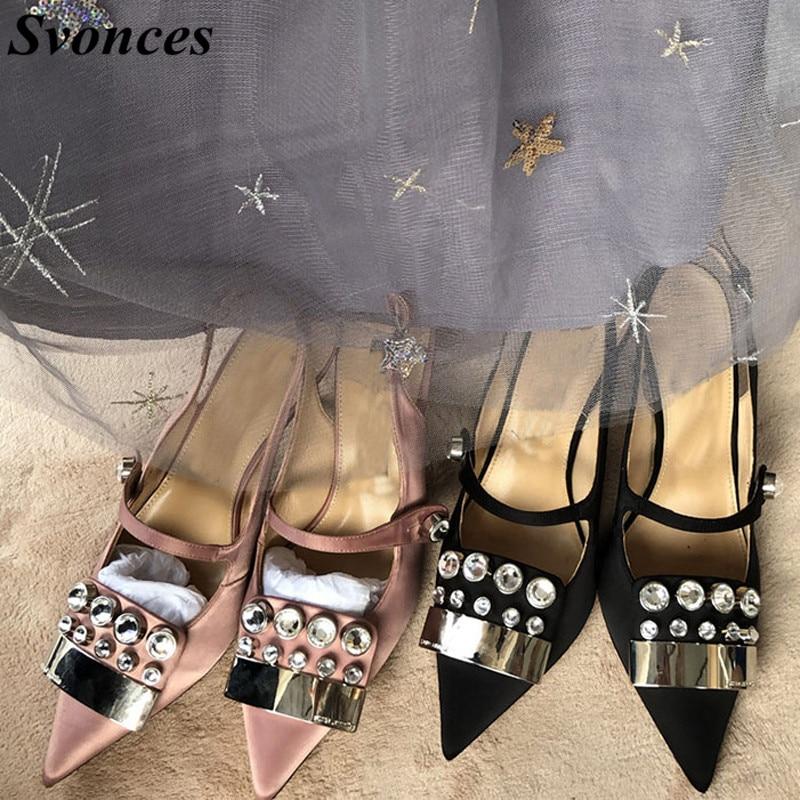 Svonces European 2018 Sand Black Silk Mary Jane Shoes Slingbacks Vintage  High Heel Pumps Crystal High-Heeled Wedding Shoes Women