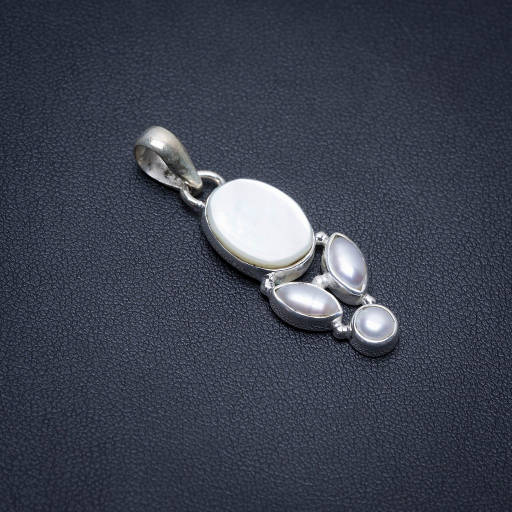 Natural Mother Of Pearl and River Pearl Punk Style 925 Sterling Silver Pendant 1 1/2 S1160Natural Mother Of Pearl and River Pearl Punk Style 925 Sterling Silver Pendant 1 1/2 S1160