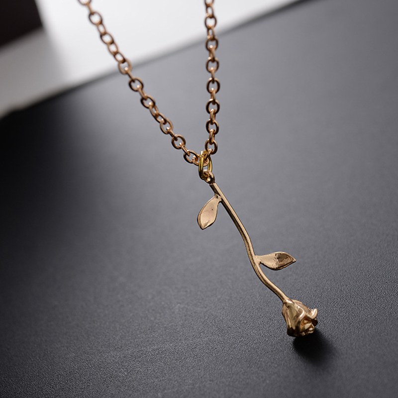 Delicate New Pink Rose Flower Pendant Statement Necklace Charm Gold Color Beauty Choker Jewelry Necklace For Women Girls 9945