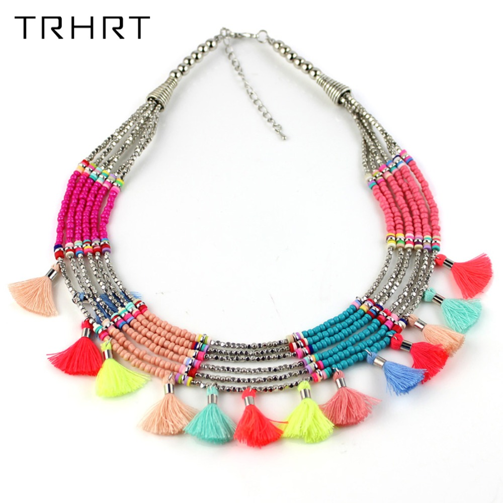 2018 New Women Statement Necklace Colorful Seed Beads Wide Bib Choker Necklace Jewelry Accessories free Shiping
