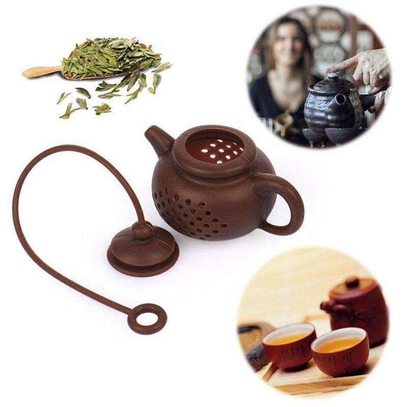 FDA Grade Silicone Tea Infusers Bag Teapot Shape Leaf Strainer Filter Kitchen Tools Gadgets