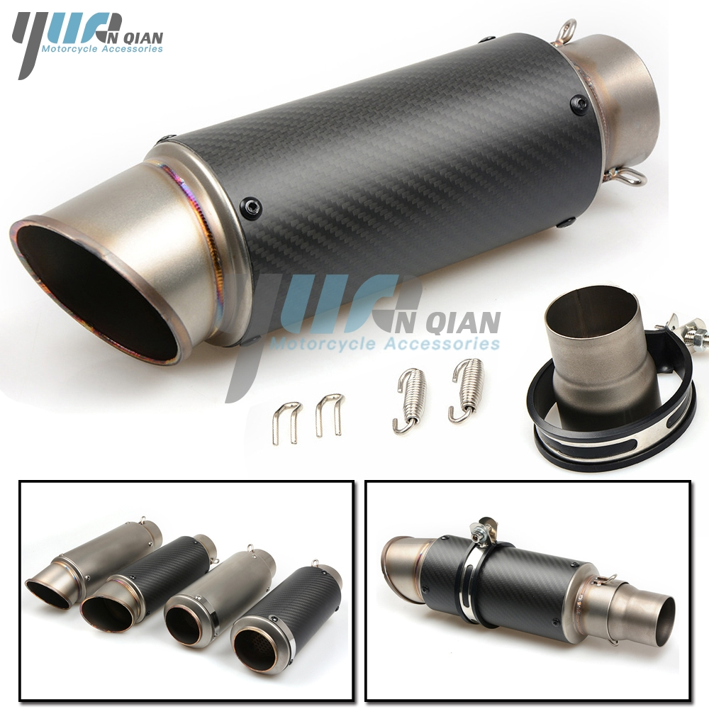 YUANQIAN Exhaust Pipe 51 61 MM Modified Exhaust Muffler Pipe FOR YAMAHA YZF-600 R6 YZF1000-R1 TMAX  FZR600 XJ600 BMW S1000RR HP4 laser mark motorcycle modified muffler sc carbon fiber exhaust pipe for bmw r1200st s1000 s1000xr s1000 rr xr 1000xr