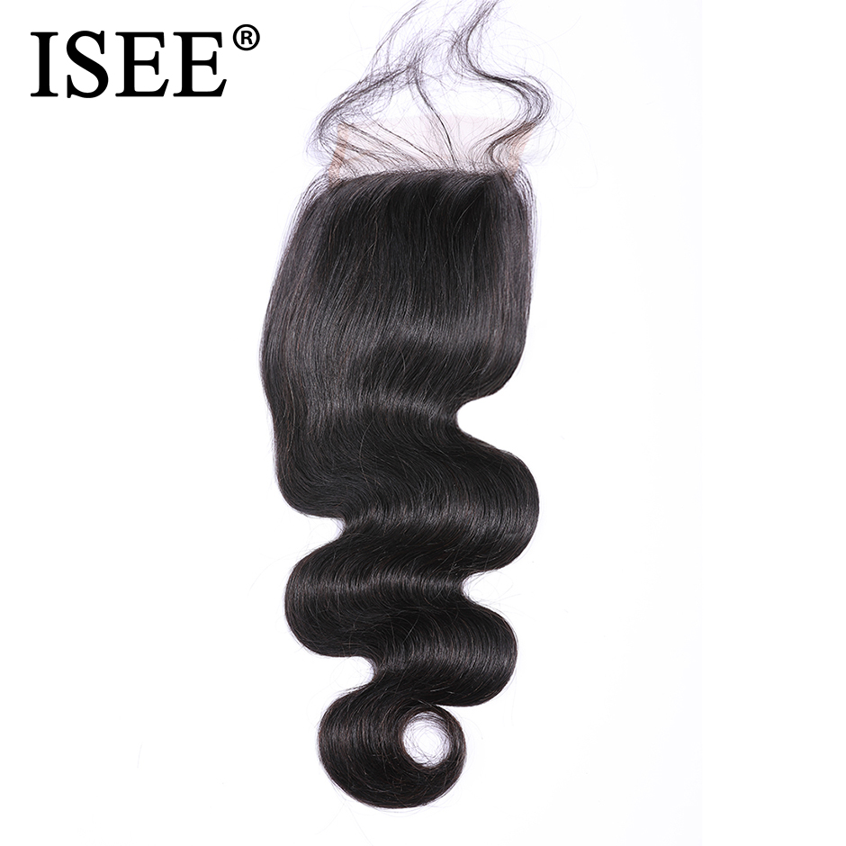 "ISEE HAIR Peruvian Body Wave Closure 100% Remy Human Hair  4"" x 4"" Free Part Swiss Lace Closure Free Shipping Nature Color"