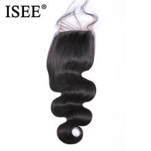 Perruque péruvienne Remy 100% naturel-ISEE HAIR | Body Wave, couleur naturelle, 4x4