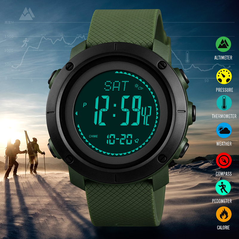 Multifunction Watch Altimeter Compass Temperature & Pressure Measurement Pedometer Calorie Countdown Outdoor Sports Men Watches Relieving Rheumatism And Cold Watches Digital Watches