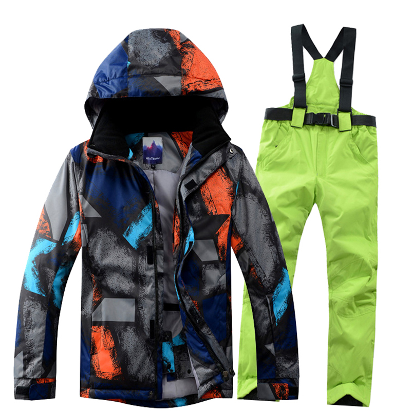 Ski Suit Men Winter 2018 Thermal Waterproof Windproof Clothes Snow pants Ski Jacket Men Set Skiing And Snowboarding Suits Brands 2018 new lover men and women windproof waterproof thermal male snow pants sets skiing and snowboarding ski suit men jackets