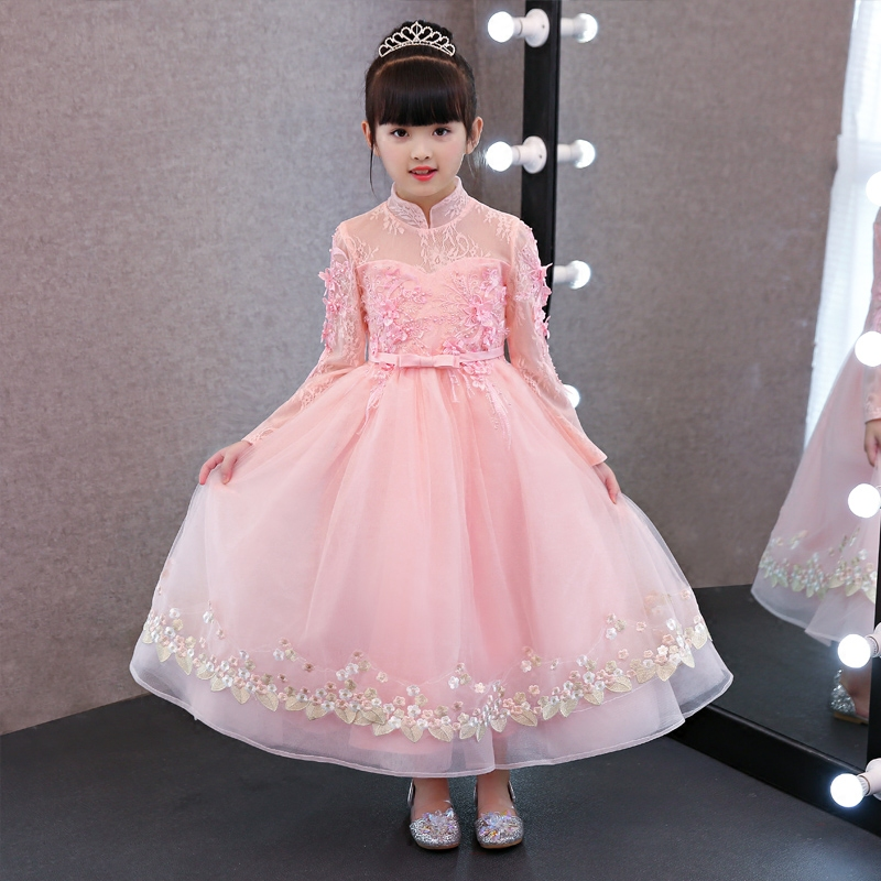 Children Girls Elegant Sweet Pink Color Birthday Evening Party Long Dress New Luxury Kids Wedding Ball Gown Lace Flowers Dress
