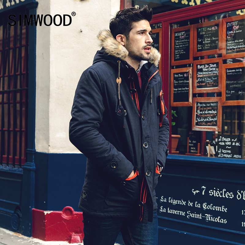 Simwood Parkas Men 2018 New Arrival Winter Casual Slim Warm Thick Fashion Hooded Coat Outerwear High Quality MF1535