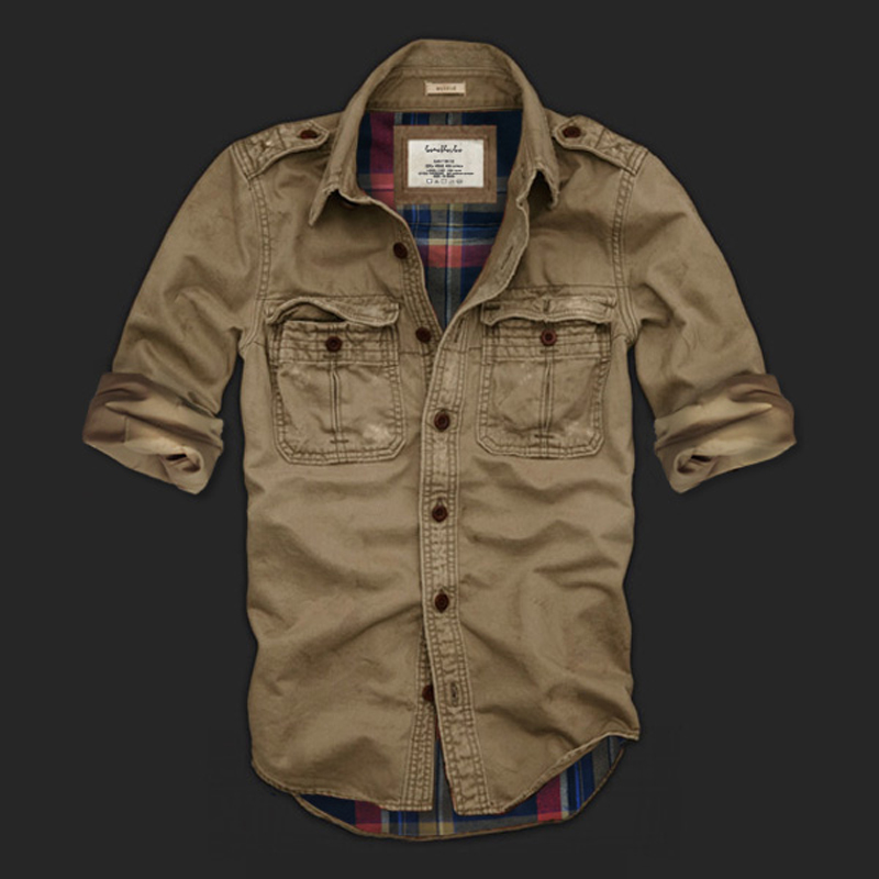 Men vintage shirt washing double layer spring autumn 2017 new fashion brand shirt 100% cotton tooling army shirt