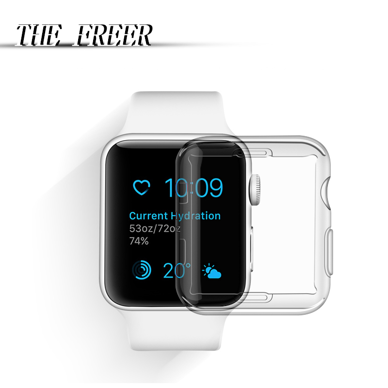 Full Transparent soft and TPU slim Case for iwatch 38mm 42mm Plastic Soft Cover for Apple watch Series 1 2 3 Protect Cover baseus simple series slim gel tpu cover for iphone se 5s 5 transparent