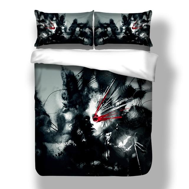 Wongsbedding 3D Cool Man Bedding Set HD Print Black Duvet Cover Bed Sheet Twin Full Queen King Size 3PCS Bedding