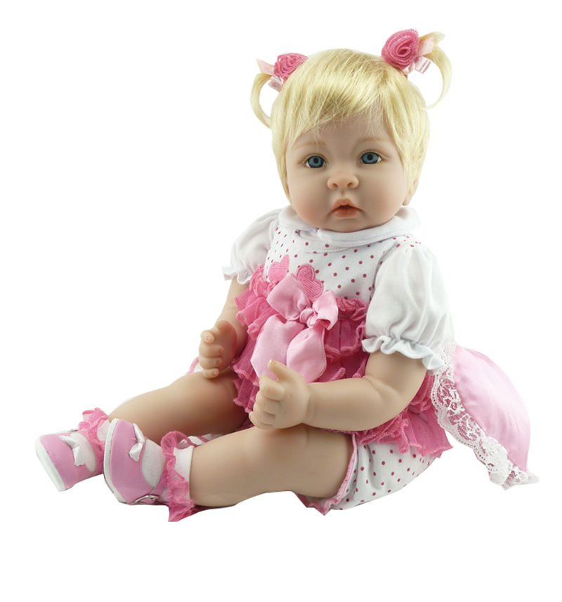 Pursue 22/56cm Reborn Baby Dolls Blond Hair Blue Eyes Princess Dress Soft Body Realistic Weighted Baby Best Gifts For Child Fun