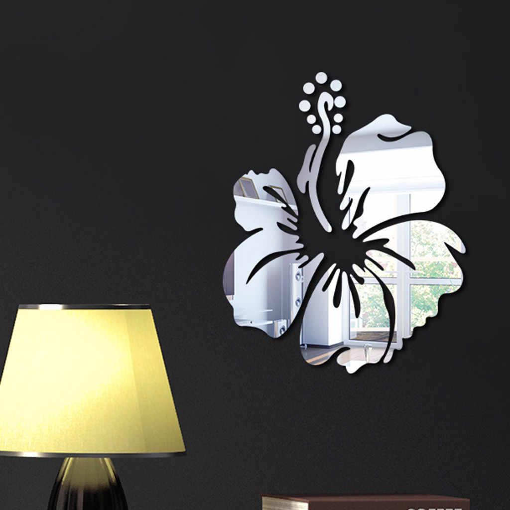 زهرة نمط الجدار ملصق لتزيين المنزل ثلاثية الأبعاد جدار الشارات الفن لتقوم بها بنفسك مرآة ملصقات جدار غرفة المعيشة الديكور الفضة/الذهب/أسود O28