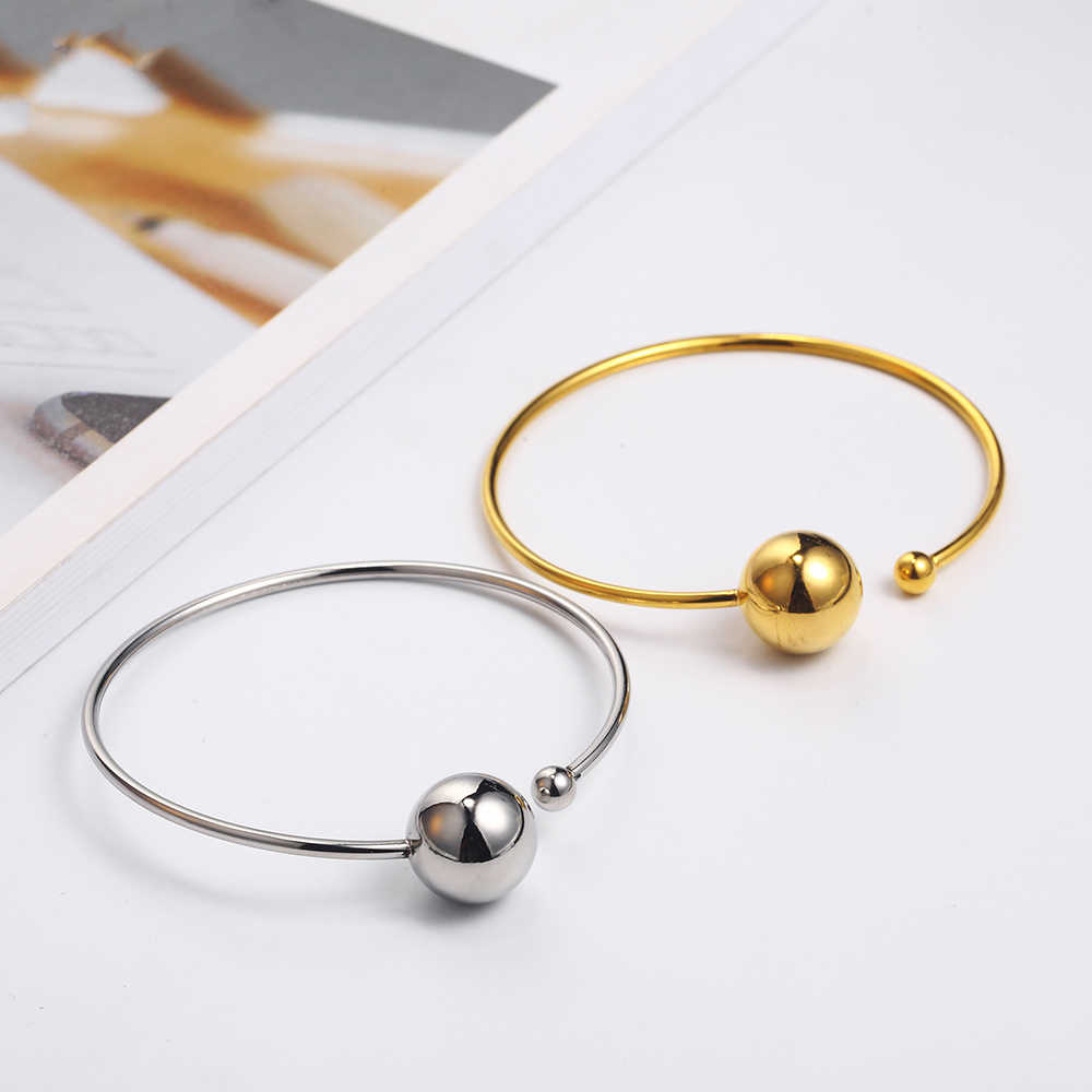 OUFEI Stainless Steel Jewelry Woman Vogue 2019 Steel Ball Bracelets Bangles Adjustable Jewelry Accessories Charm Cuff Bracelets
