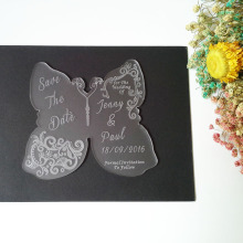 Customized 140*120mm Laser cut Wedding Invitation Engraved frosted Acrylic wedding Save the Date cards (1lot=100pcs)