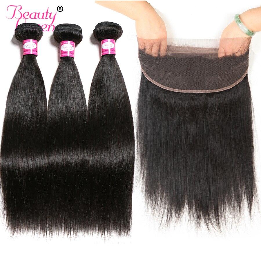 360 Lace Frontal Closure With Bundles Brazilian Hair Weave Bundles Straight Human Hair 3 Bundles With Closure Nonremy 4 PCS