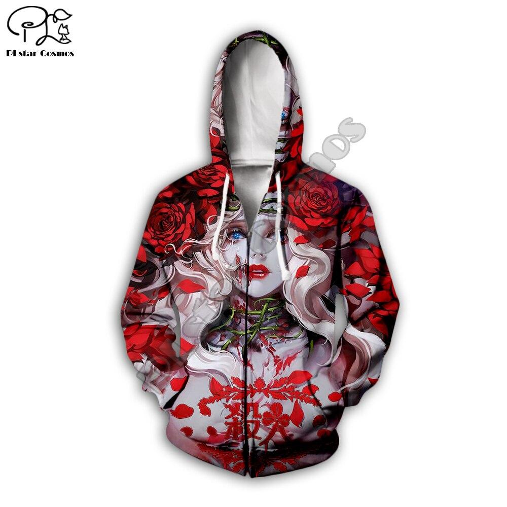Japanese style geisha babydoll 3D Print Hoodies Men women harajuku red rose Sweatshirt zipper tracksuit long sleeve pullover in Hoodies amp Sweatshirts from Men 39 s Clothing
