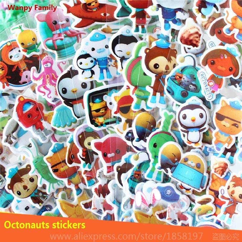 10 Pcs/Set Marine adventure animation Octonauts stickers Children Cartoon Mini Bubble stickers for kids toys decor Stickers action figure pokemon