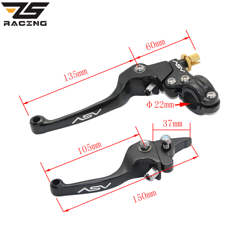 ZS-Racing Aluminum Alloy ASV Series Long Brake Clutch Folding Lever Fit To Motorcycle ATV Dirt Pit Bike Moto MX Spare Parts motorcycle modification asv brake clutch folded small to handle drop