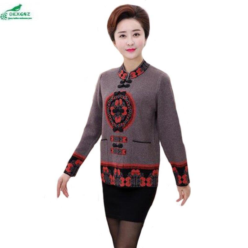 Autumn new women in the elderly women s casual knitwear coat women s spring sweater Outerwear