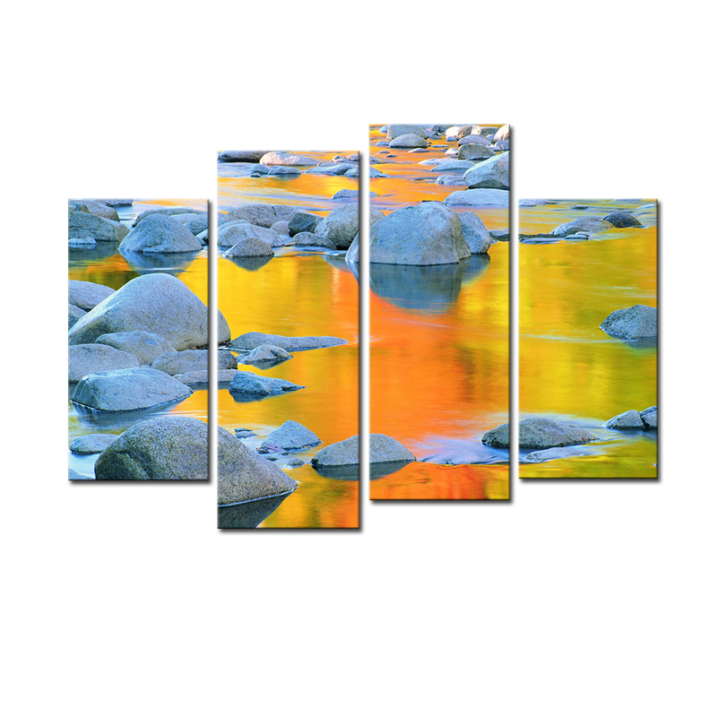 Canvas Prints Rocks Yellow River Scenery HD Artwork Natural Landscape Wall Art Picture Painting for Home Decoration No Framed ...