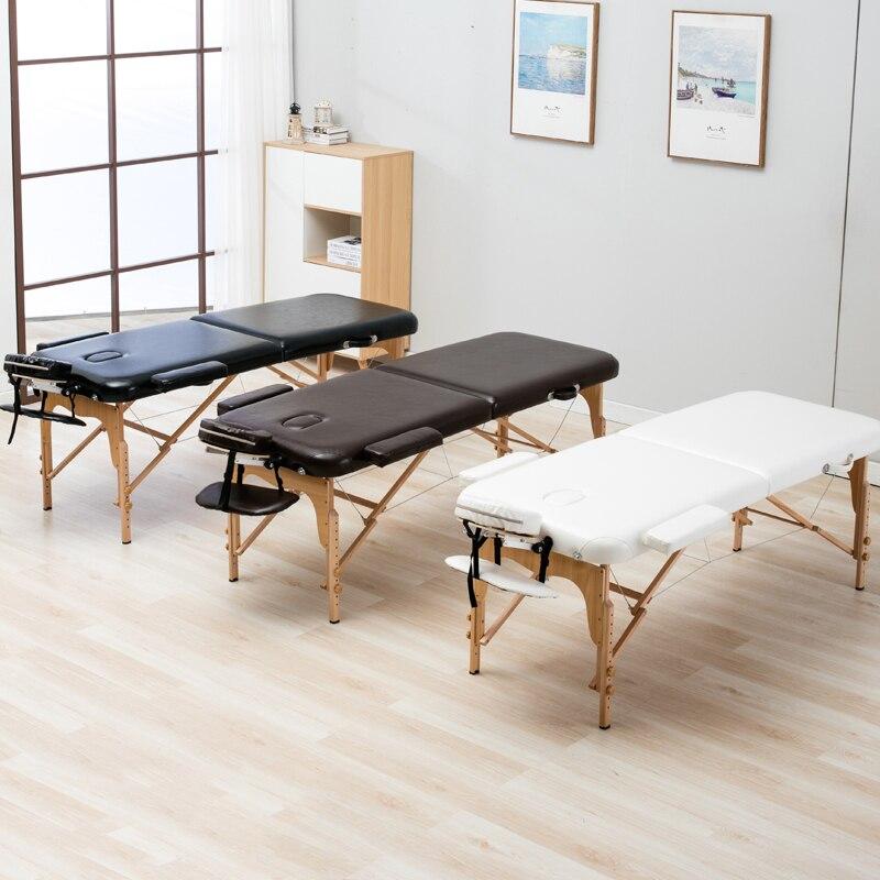 Cama Da Beleza dobrar comprimento 185 centímetros 70 cm largura Mobília do Salão de beleza Profissional Mesas de Massagem Spa Portátil Dobrável com Saco De Madeira