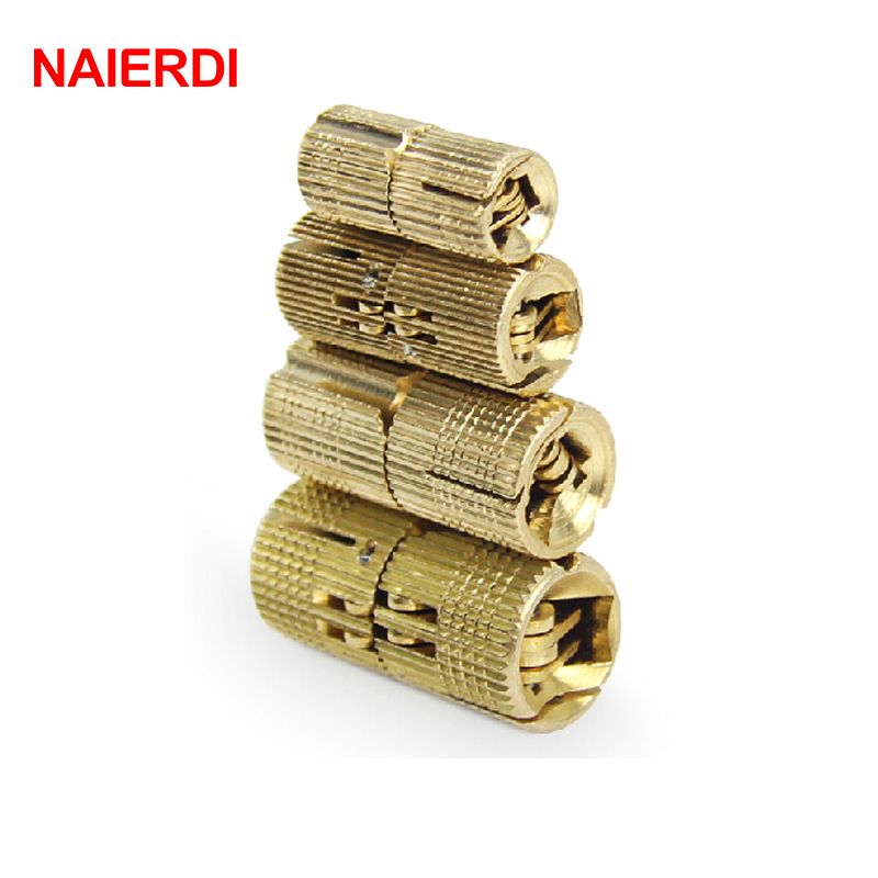 NAIERDI 4PCS 16mm Copper Barrel Hinges Cylindrical Hidden Cabinet Concealed Invisible Brass Hinges For Door Furniture Hardware 2pcs set stainless steel 90 degree self closing cabinet closet door hinges home roomfurniture hardware accessories supply