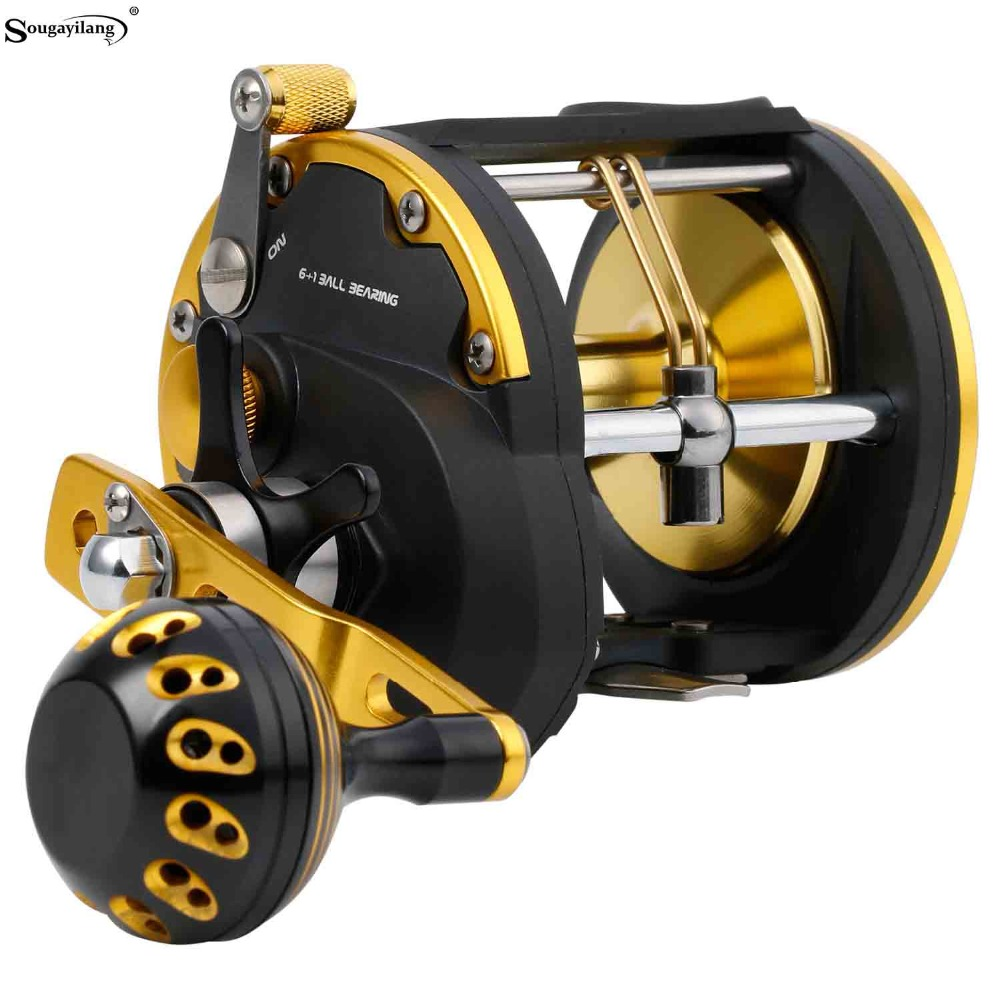Sougayilang 6+1BB Strong Trolling Fishing Reel Right Hand Casting Sea Spinning Fishing Reel Baitcasting Reel Coil Fishing Tackle metal round jigging reel 6 1 bearing saltwater trolling drum reels right hand fishing sea coil baitcasting reel
