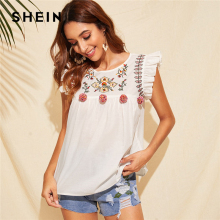 SHEIN Cute Boho White Ruffle Trim Pompom Detail Floral Embroidery Top Blouse Women O-Neck Sleeveless Keyhole Back Ruffle Blouses недорого