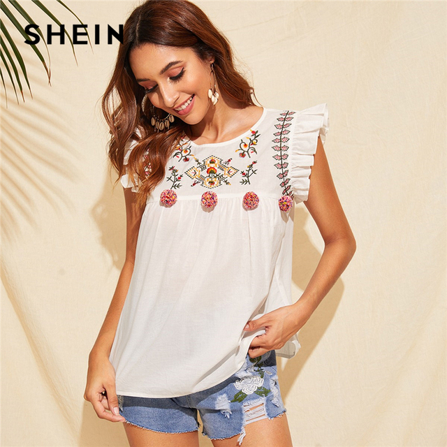 44a1f7a223716 US $12.0 45% OFF|SHEIN Cute Boho White Ruffle Trim Pompom Detail Floral  Embroidery Top Blouse Women O Neck Sleeveless Keyhole Back Ruffle  Blouses-in ...
